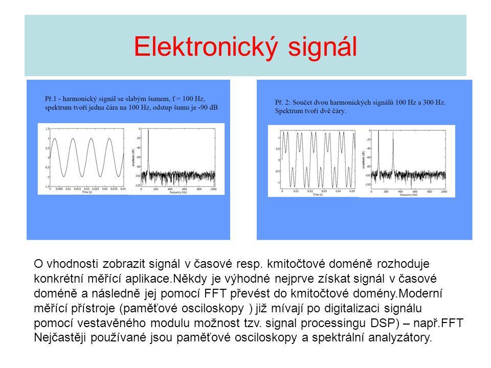 Elektronický signál O vhodnosti zobrazit signál v časové resp. kmitočtové doméně rozhoduje konkrétní měřící aplikace.Někdy je výhodné nejprve získat s