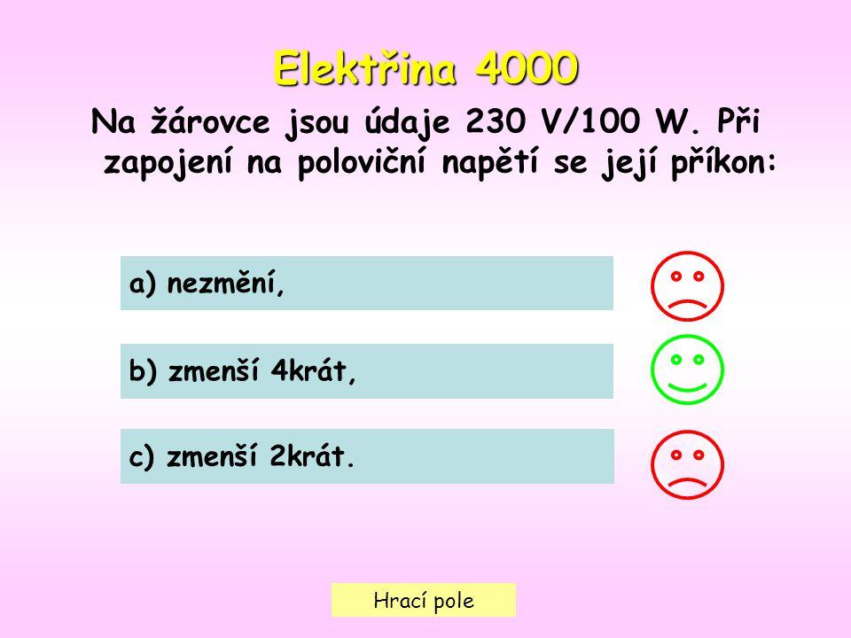 Hrací pole Elektřina 4000 Na žárovce jsou údaje 230 V/100 W.