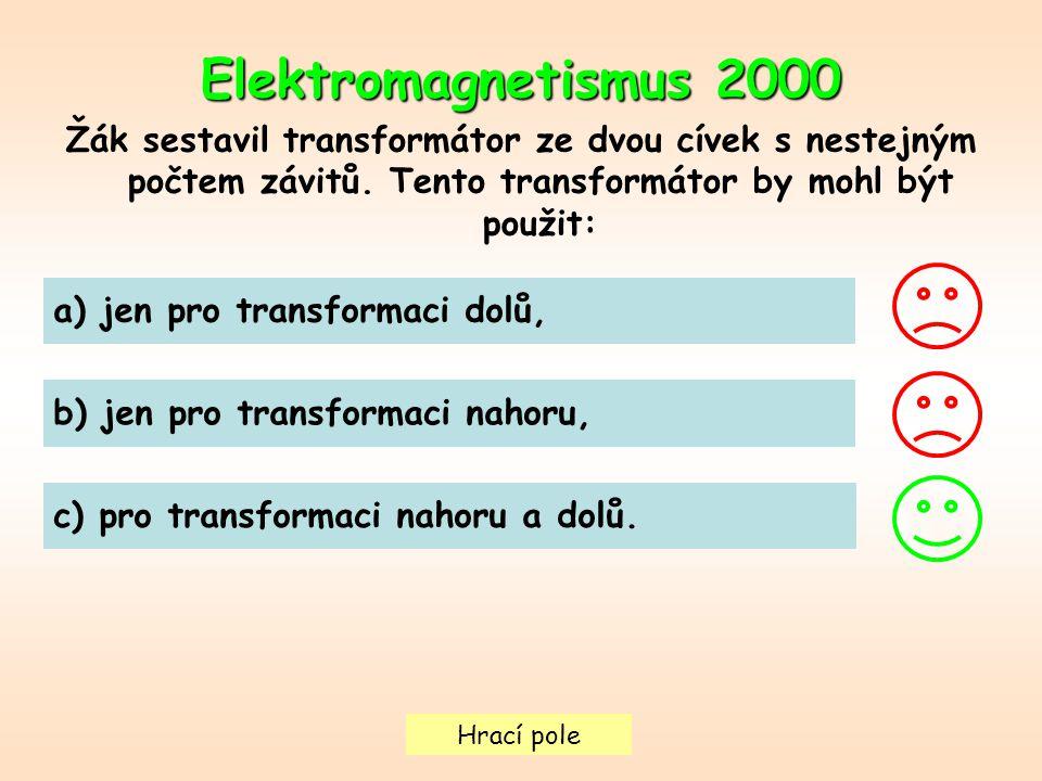 Hrací pole Elektromagnetismus 2000 Žák sestavil transformátor ze dvou cívek s nestejným počtem závitů.