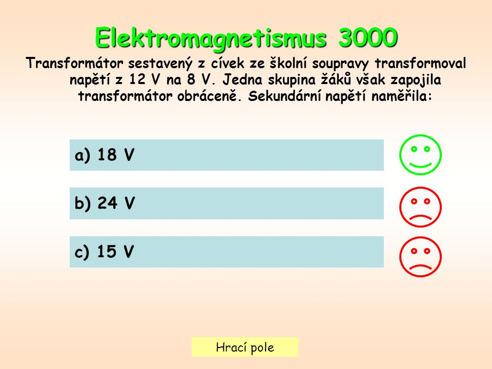 Hrací pole Elektromagnetismus 3000 Transformátor sestavený z cívek ze školní soupravy transformoval napětí z 12 V na 8 V.