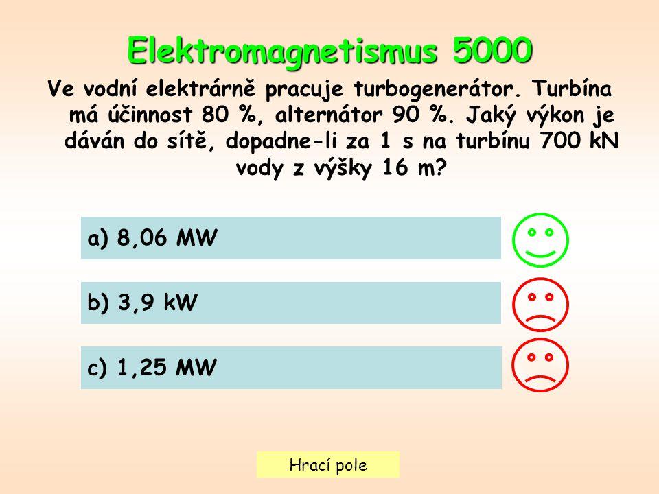 Hrací pole Elektromagnetismus 5000 Ve vodní elektrárně pracuje turbogenerátor.