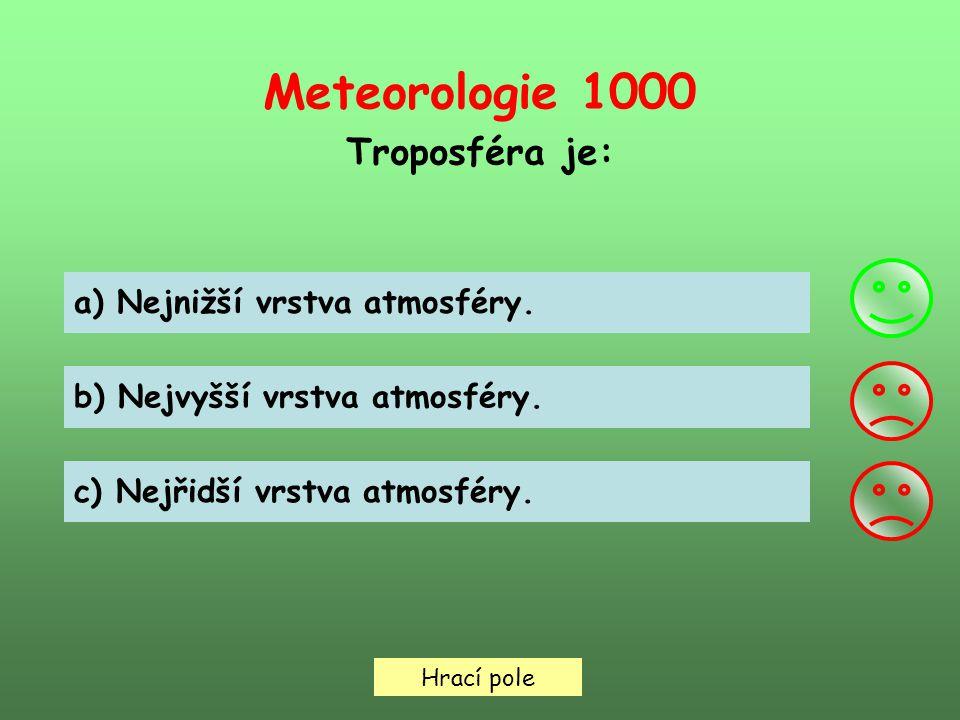 Meteorologie 1000 Troposféra je: Hrací pole a) Nejnižší vrstva atmosféry.