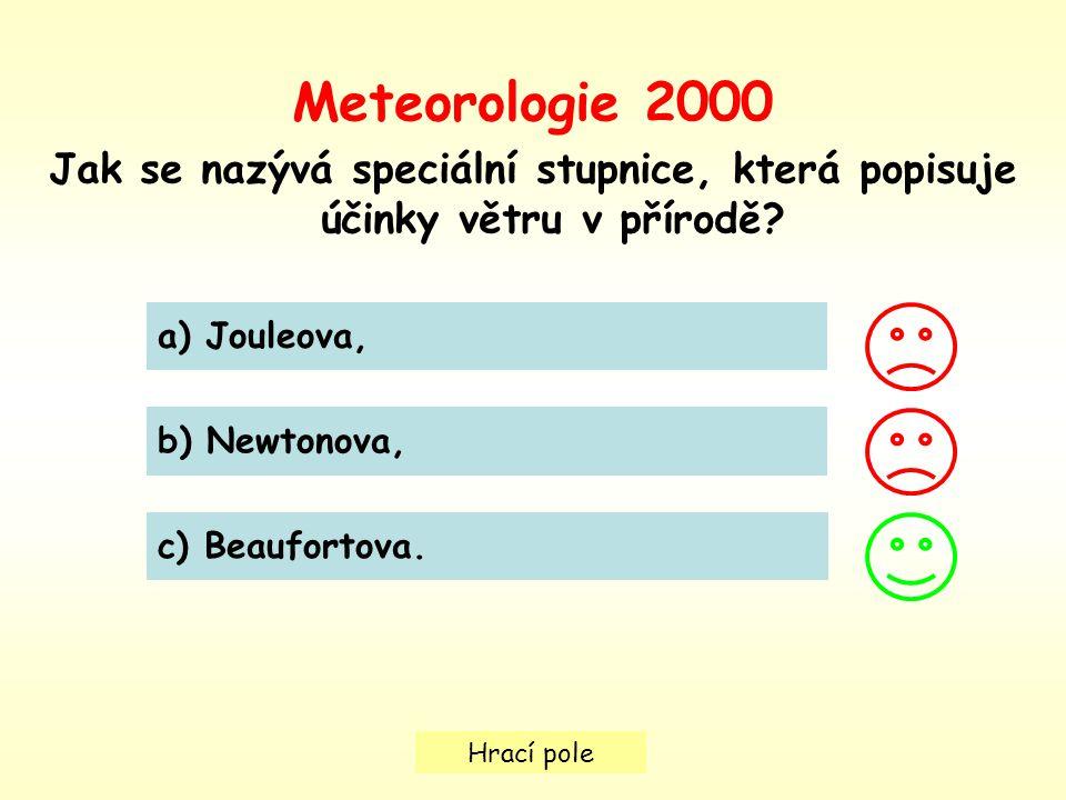 Hrací pole Meteorologie 2000 Jak se nazývá speciální stupnice, která popisuje účinky větru v přírodě.