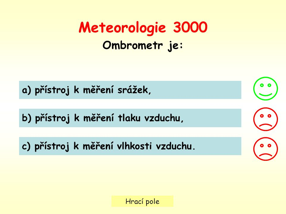 Hrací pole a) přístroj k měření srážek, b) přístroj k měření tlaku vzduchu, c) přístroj k měření vlhkosti vzduchu.