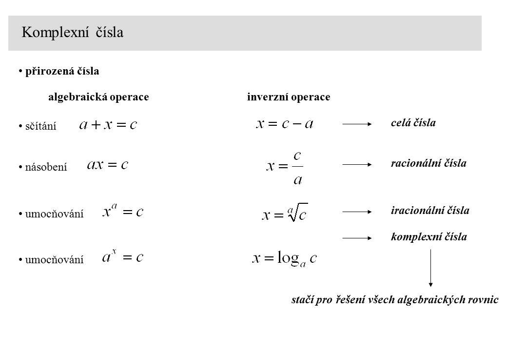 Komplexní čísla sčítání algebraická operaceinverzní operace celá čísla přirozená čísla násobení racionální čísla iracionální čísla umocňování komplexn