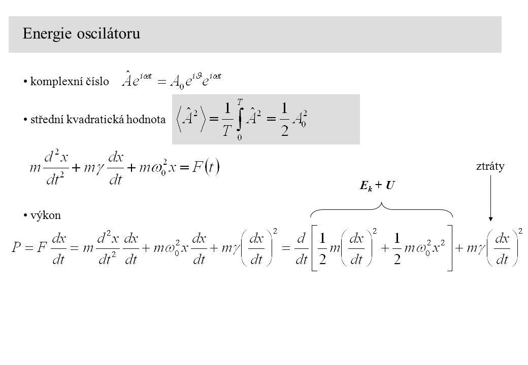 Energie oscilátoru komplexní číslo střední kvadratická hodnota výkon E k + U ztráty