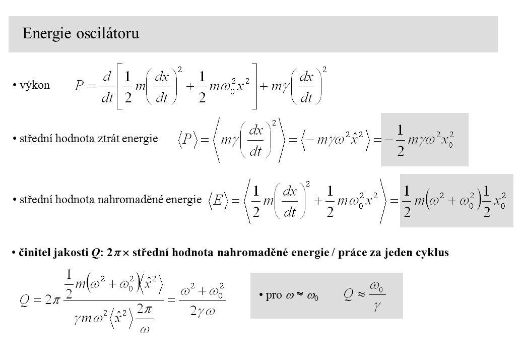 Energie oscilátoru výkon střední hodnota ztrát energie střední hodnota nahromaděné energie činitel jakosti Q: 2   střední hodnota nahromaděné energi