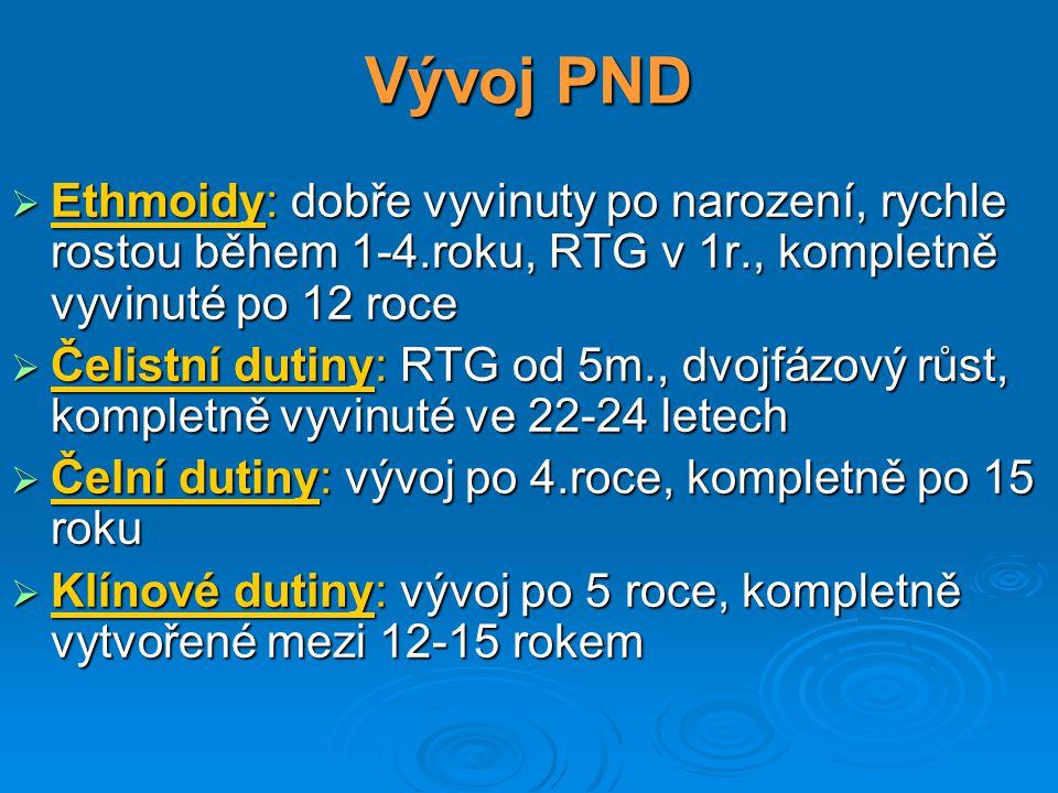 Vývoj PND  Ethmoidy: dobře vyvinuty po narození, rychle rostou během 1-4.roku, RTG v 1r., kompletně vyvinuté po 12 roce  Čelistní dutiny: RTG od 5m.