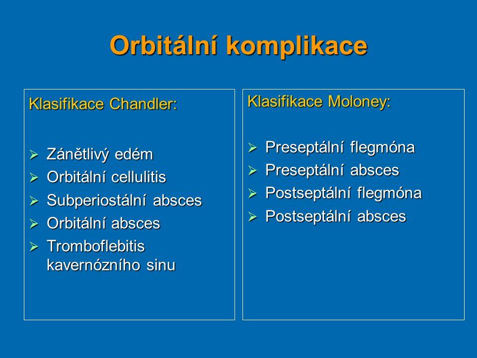 Orbitální komplikace Klasifikace Chandler:  Zánětlivý edém  Orbitální cellulitis  Subperiostální absces  Orbitální absces  Tromboflebitis kavernó