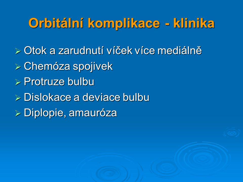 Orbitální komplikace - klinika  Otok a zarudnutí víček více mediálně  Chemóza spojivek  Protruze bulbu  Dislokace a deviace bulbu  Diplopie, amau