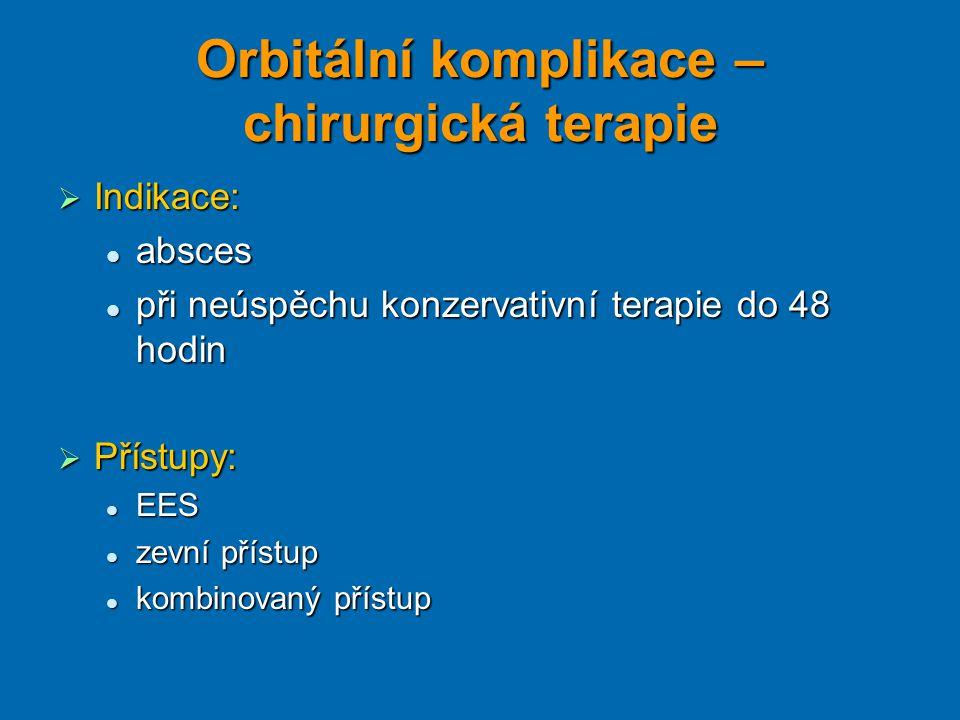 Orbitální komplikace – chirurgická terapie  Indikace: absces absces při neúspěchu konzervativní terapie do 48 hodin při neúspěchu konzervativní terap