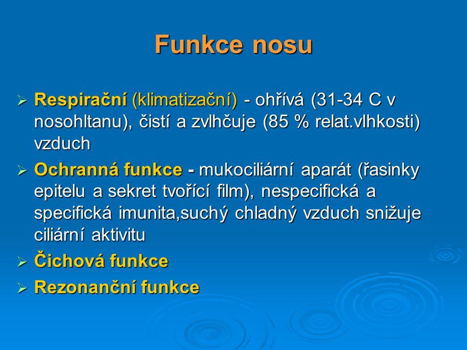 Funkce nosu  Respirační (klimatizační) - ohřívá (31-34 C v nosohltanu), čistí a zvlhčuje (85 % relat.vlhkosti) vzduch  Ochranná funkce - mukociliárn