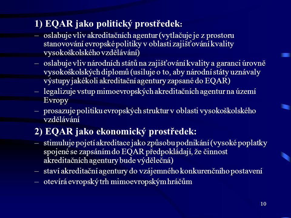 10 1) EQAR jako politický prostředek : –oslabuje vliv akreditačních agentur (vytlačuje je z prostoru stanovování evropské politiky v oblasti zajišťová