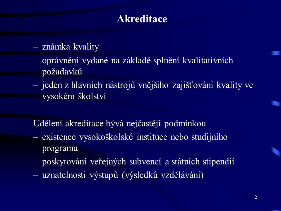 2 Akreditace –známka kvality –oprávnění vydané na základě splnění kvalitativních požadavků –jeden z hlavních nástrojů vnějšího zajišťování kvality ve