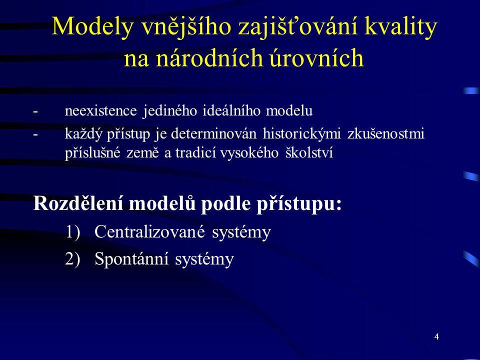 4 Modely vnějšího zajišťování kvality na národních úrovních -neexistence jediného ideálního modelu -každý přístup je determinován historickými zkušeno
