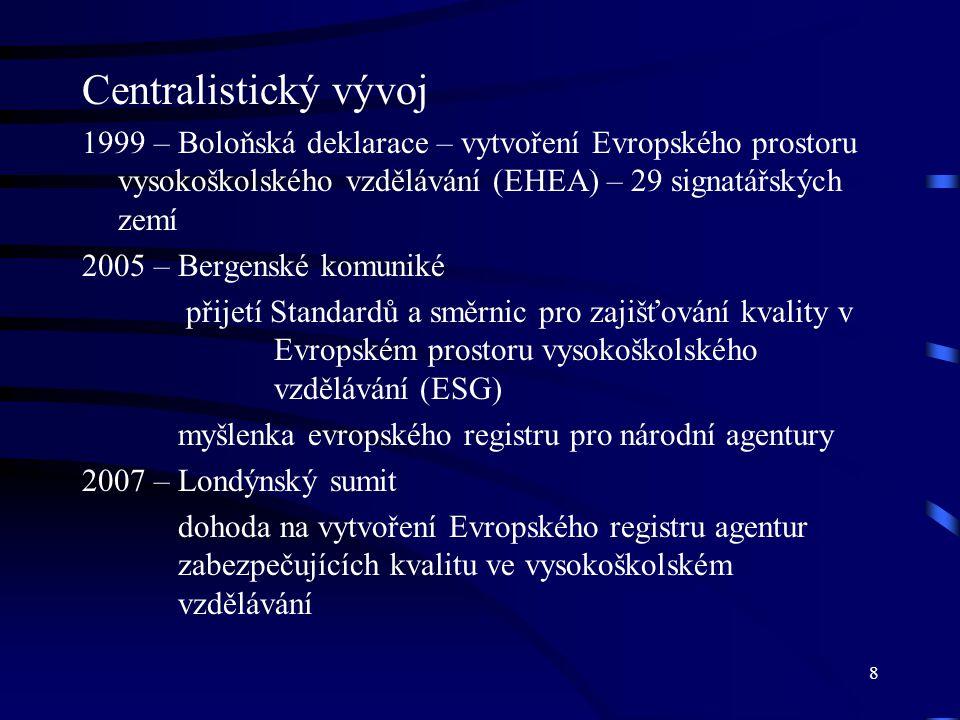 8 Centralistický vývoj 1999 – Boloňská deklarace – vytvoření Evropského prostoru vysokoškolského vzdělávání (EHEA) – 29 signatářských zemí 2005 – Berg