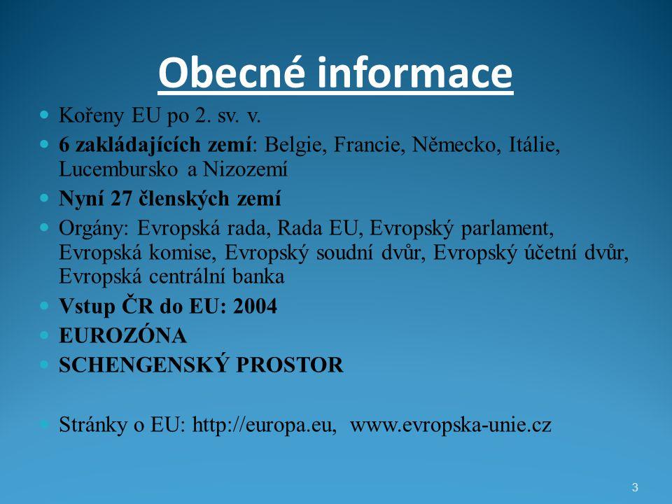 Obecné informace Kořeny EU po 2. sv. v. 6 zakládajících zemí: Belgie, Francie, Německo, Itálie, Lucembursko a Nizozemí Nyní 27 členských zemí Orgány: