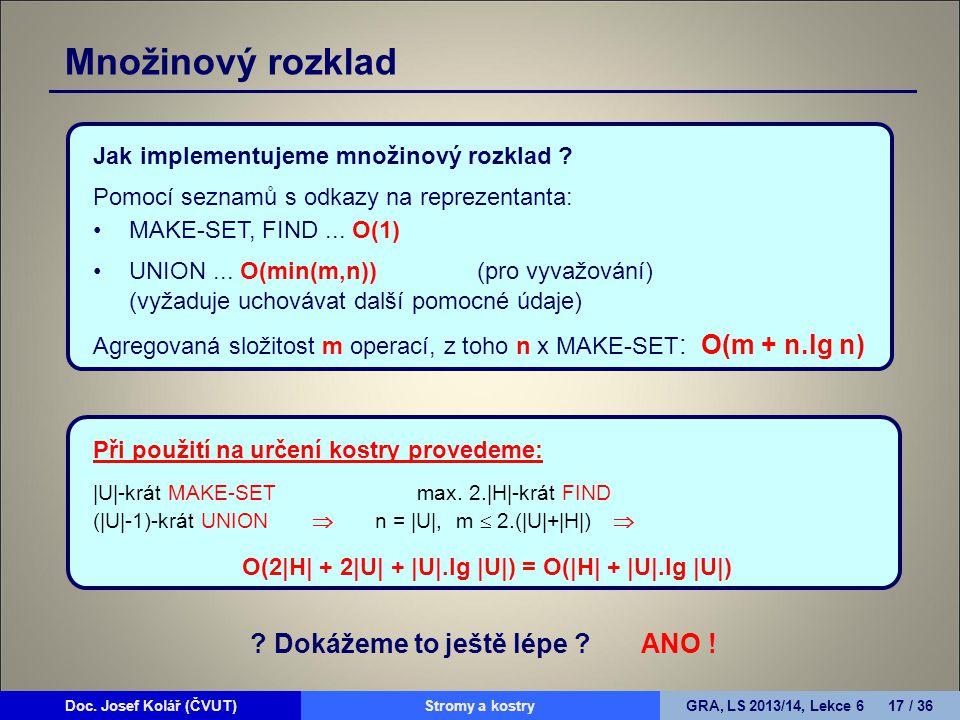 Doc. Josef Kolář (ČVUT)Prohledávání grafůGRA, LS 2010/11, Lekce 4 17 / 15Doc. Josef Kolář (ČVUT)Stromy a kostryGRA, LS 2013/14, Lekce 6 17 / 36 Jak im
