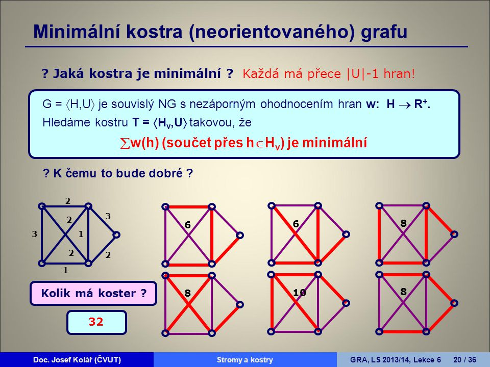 Doc. Josef Kolář (ČVUT)Prohledávání grafůGRA, LS 2010/11, Lekce 4 20 / 15Doc. Josef Kolář (ČVUT)Stromy a kostryGRA, LS 2013/14, Lekce 6 20 / 36 G = 