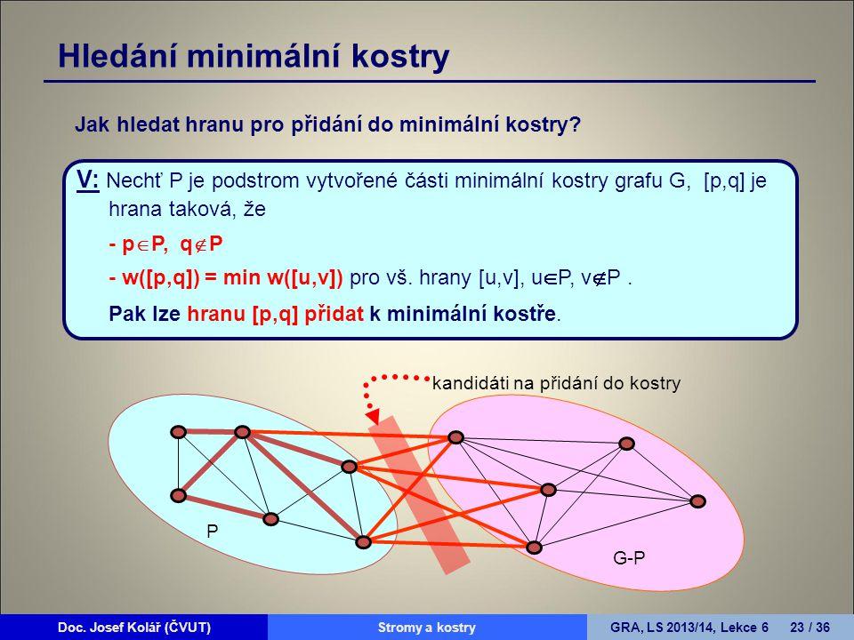 Doc. Josef Kolář (ČVUT)Prohledávání grafůGRA, LS 2010/11, Lekce 4 23 / 15Doc. Josef Kolář (ČVUT)Stromy a kostryGRA, LS 2013/14, Lekce 6 23 / 36 V: Nec