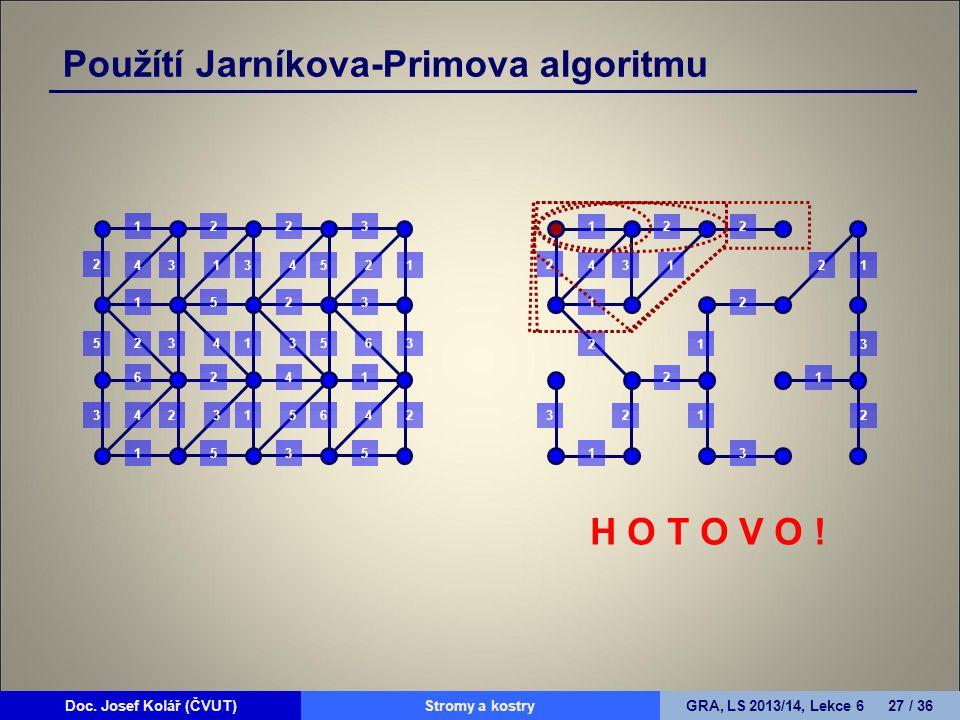 Doc. Josef Kolář (ČVUT)Prohledávání grafůGRA, LS 2010/11, Lekce 4 27 / 15Doc. Josef Kolář (ČVUT)Stromy a kostryGRA, LS 2013/14, Lekce 6 27 / 36 1223 1
