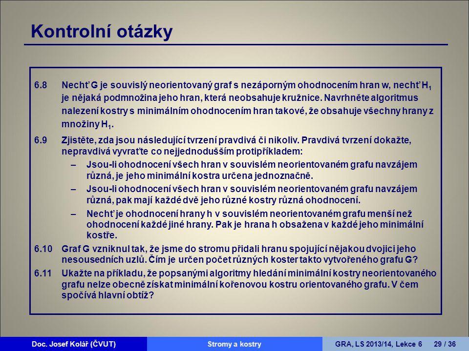 Doc. Josef Kolář (ČVUT)Prohledávání grafůGRA, LS 2010/11, Lekce 4 29 / 15Doc. Josef Kolář (ČVUT)Stromy a kostryGRA, LS 2013/14, Lekce 6 29 / 36 Kontro
