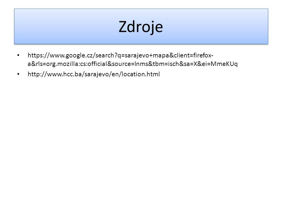 Zdroje https://www.google.cz/search?q=sarajevo+mapa&client=firefox- a&rls=org.mozilla:cs:official&source=lnms&tbm=isch&sa=X&ei=MmeKUq http://www.hcc.b