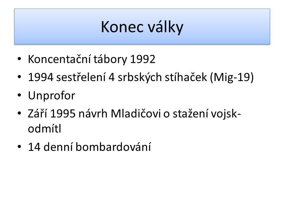 Konec války Koncentační tábory 1992 1994 sestřelení 4 srbských stíhaček (Mig-19) Unprofor Září 1995 návrh Mladičovi o stažení vojsk- odmítl 14 denní b