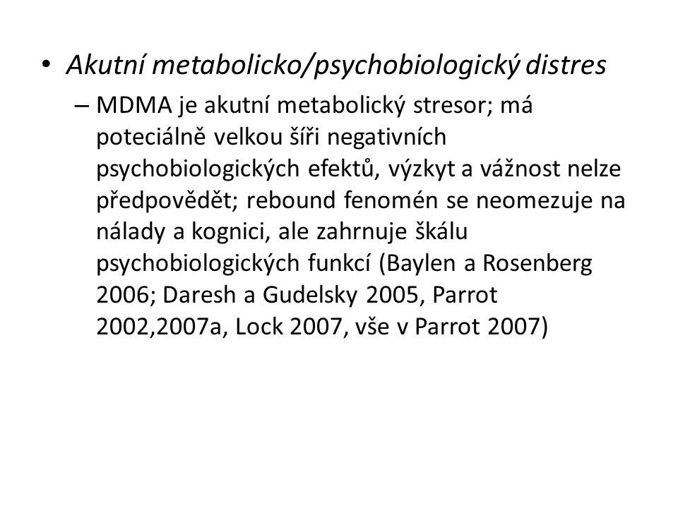 Akutní metabolicko/psychobiologický distres – MDMA je akutní metabolický stresor; má poteciálně velkou šíři negativních psychobiologických efektů, výz