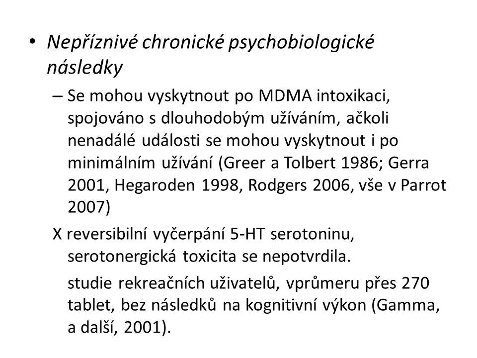 Nepříznivé chronické psychobiologické následky – Se mohou vyskytnout po MDMA intoxikaci, spojováno s dlouhodobým užíváním, ačkoli nenadálé události se