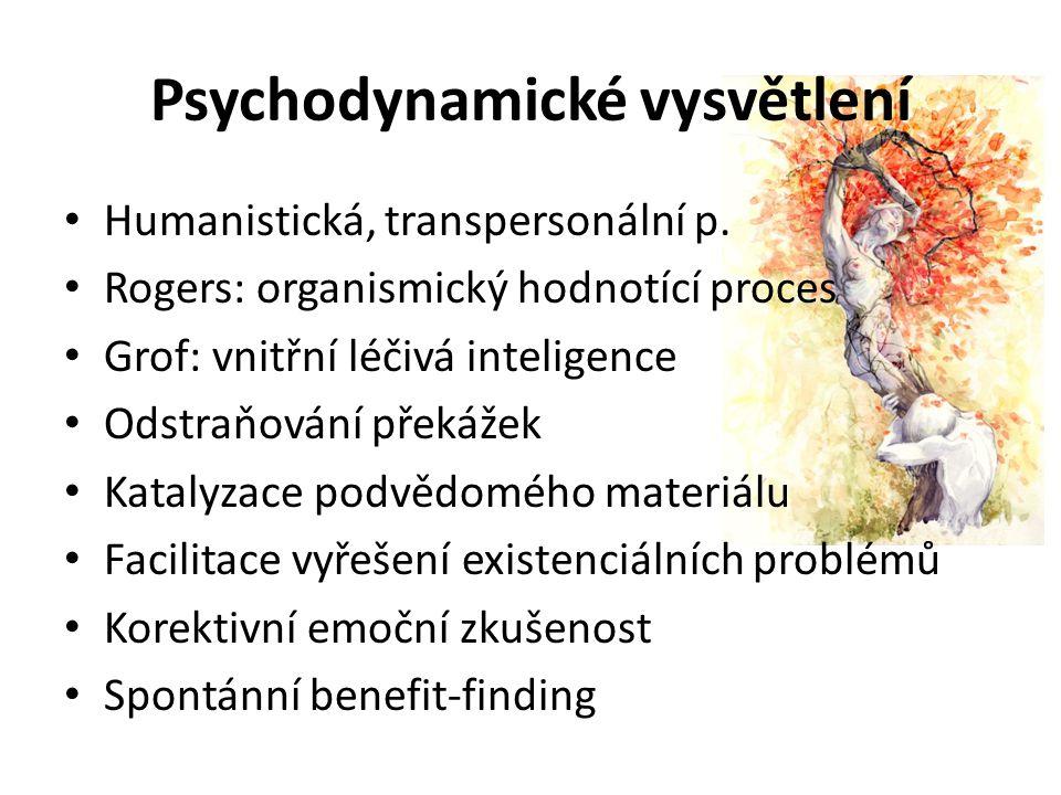 Psychodynamické vysvětlení Humanistická, transpersonální p. Rogers: organismický hodnotící proces Grof: vnitřní léčivá inteligence Odstraňování překáž