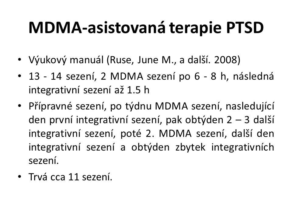 MDMA-asistovaná terapie PTSD Výukový manuál (Ruse, June M., a další. 2008) 13 - 14 sezení, 2 MDMA sezení po 6 - 8 h, následná integrativní sezení až 1