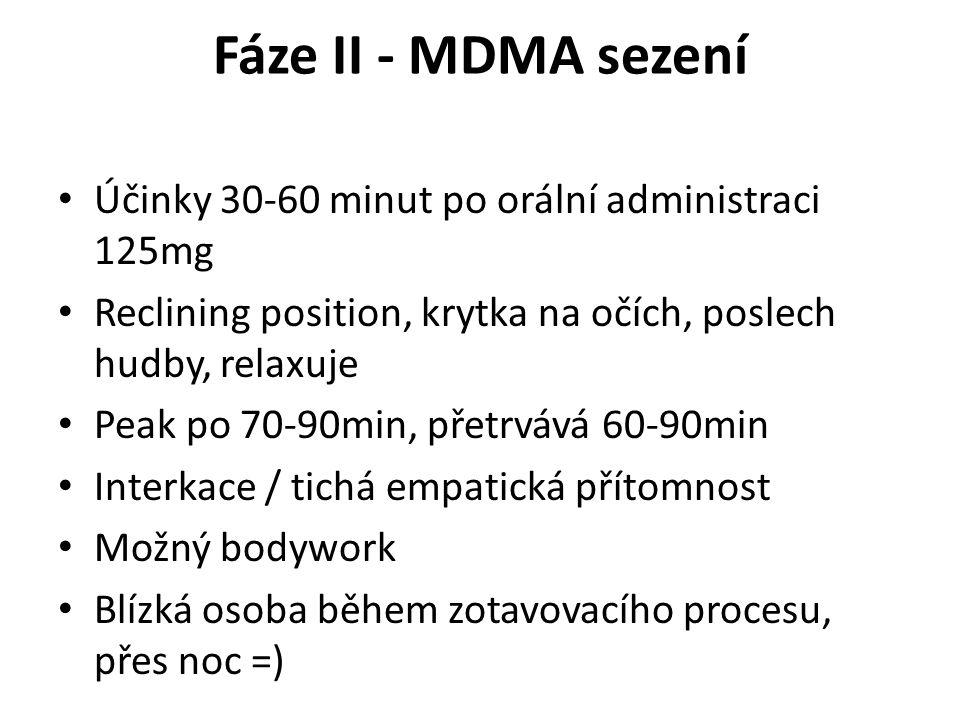 Fáze II - MDMA sezení Účinky 30-60 minut po orální administraci 125mg Reclining position, krytka na očích, poslech hudby, relaxuje Peak po 70-90min, p