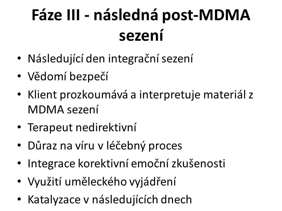 Fáze III - následná post-MDMA sezení Následující den integrační sezení Vědomí bezpečí Klient prozkoumává a interpretuje materiál z MDMA sezení Terapeu