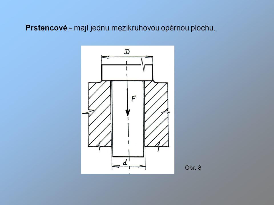 Prstencové – mají jednu mezikruhovou opěrnou plochu. Obr. 8