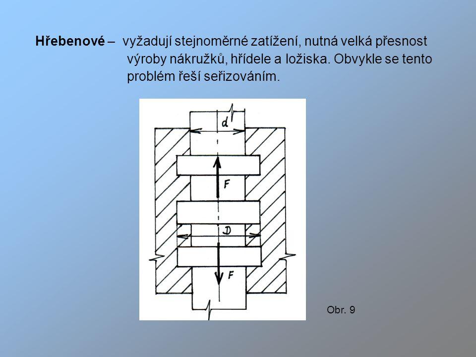 Hřebenové – vyžadují stejnoměrné zatížení, nutná velká přesnost výroby nákružků, hřídele a ložiska.