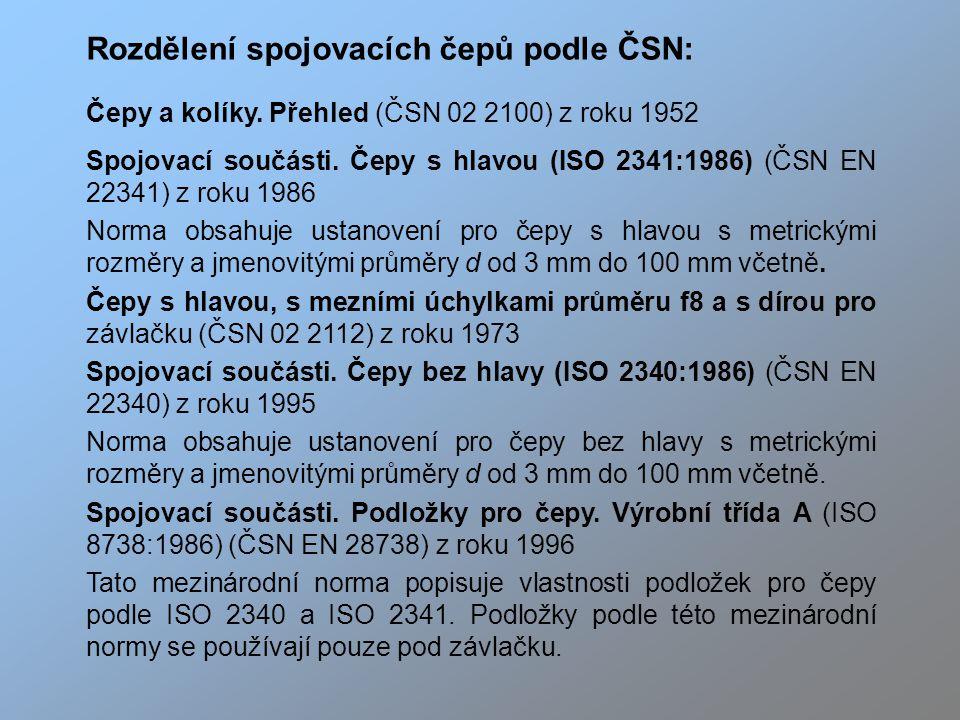 Rozdělení spojovacích čepů podle ČSN: Čepy a kolíky.