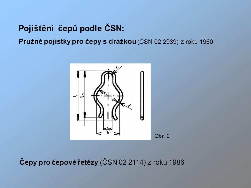 Pojištění čepů podle ČSN: Pružné pojistky pro čepy s drážkou (ČSN 02 2939) z roku 1960 Čepy pro čepové řetězy (ČSN 02 2114) z roku 1986 Obr.