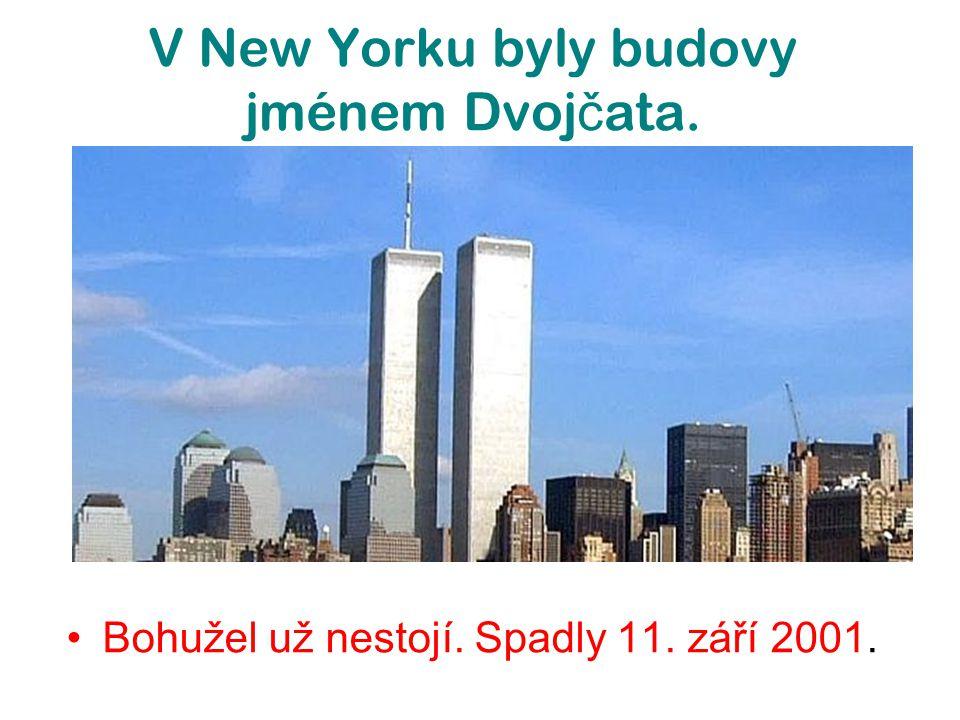 V New Yorku byly budovy jménem Dvoj č ata. Bohužel už nestojí. Spadly 11. září 2001.