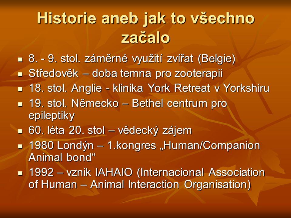 Historie aneb jak to všechno začalo 8. - 9. stol. záměrné využití zvířat (Belgie) 8. - 9. stol. záměrné využití zvířat (Belgie) Středověk – doba temna