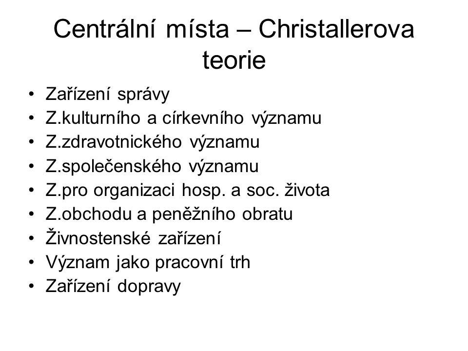 Centrální místa – Christallerova teorie Zařízení správy Z.kulturního a církevního významu Z.zdravotnického významu Z.společenského významu Z.pro organizaci hosp.