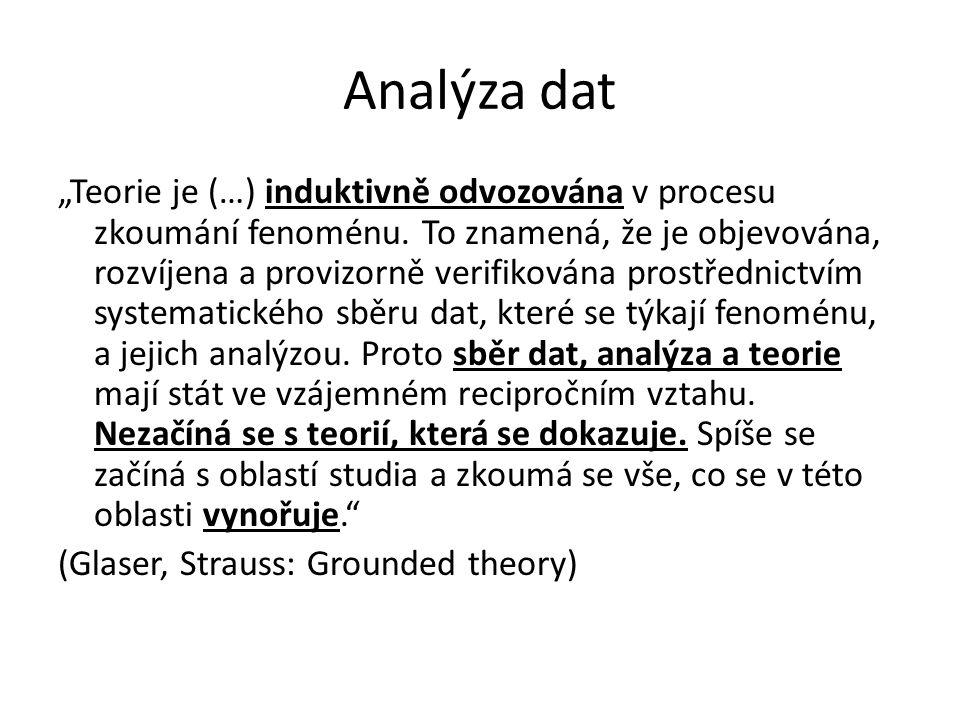 """Analýza dat """"Teorie je (…) induktivně odvozována v procesu zkoumání fenoménu. To znamená, že je objevována, rozvíjena a provizorně verifikována prostř"""