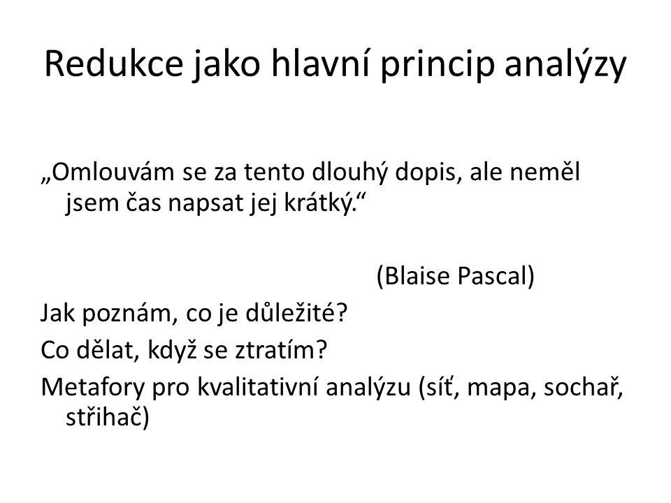 """Redukce jako hlavní princip analýzy """"Omlouvám se za tento dlouhý dopis, ale neměl jsem čas napsat jej krátký."""" (Blaise Pascal) Jak poznám, co je důlež"""