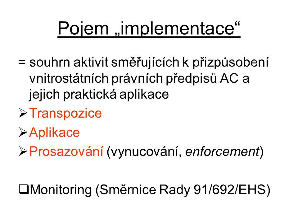 """Pojem """"implementace = souhrn aktivit směřujících k přizpůsobení vnitrostátních právních předpisů AC a jejich praktická aplikace  Transpozice  Aplikace  Prosazování (vynucování, enforcement)  Monitoring (Směrnice Rady 91/692/EHS)"""