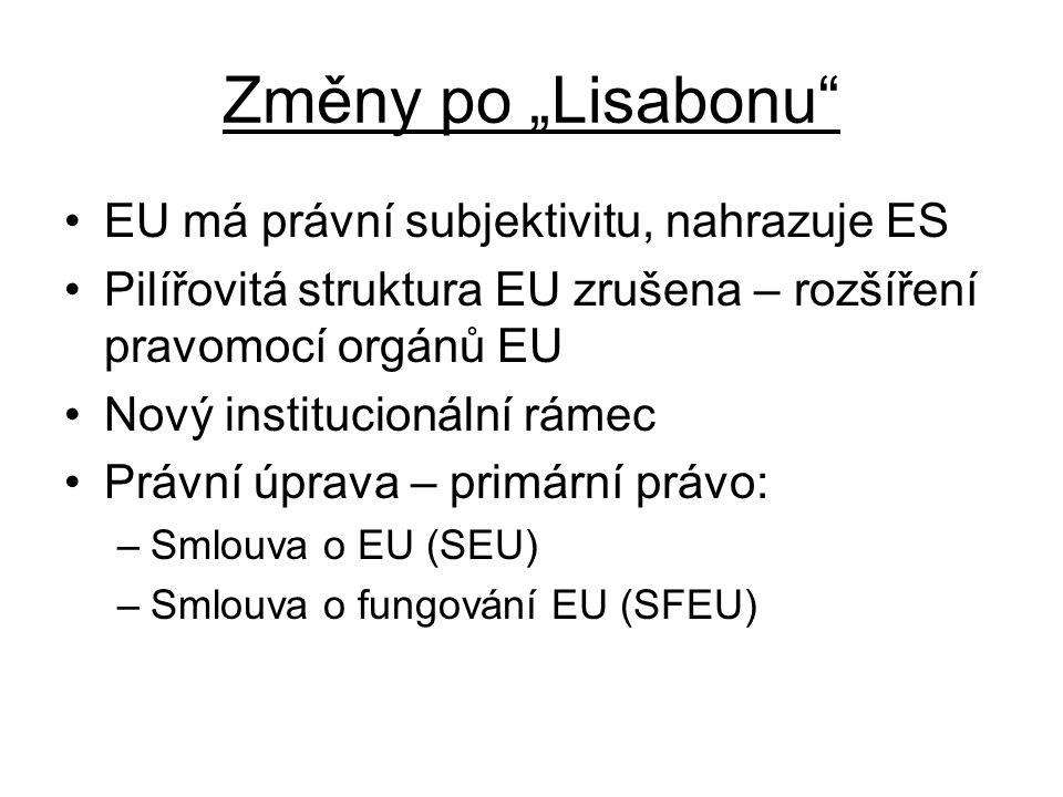 """Změny po """"Lisabonu EU má právní subjektivitu, nahrazuje ES Pilířovitá struktura EU zrušena – rozšíření pravomocí orgánů EU Nový institucionální rámec Právní úprava – primární právo: –Smlouva o EU (SEU) –Smlouva o fungování EU (SFEU)"""