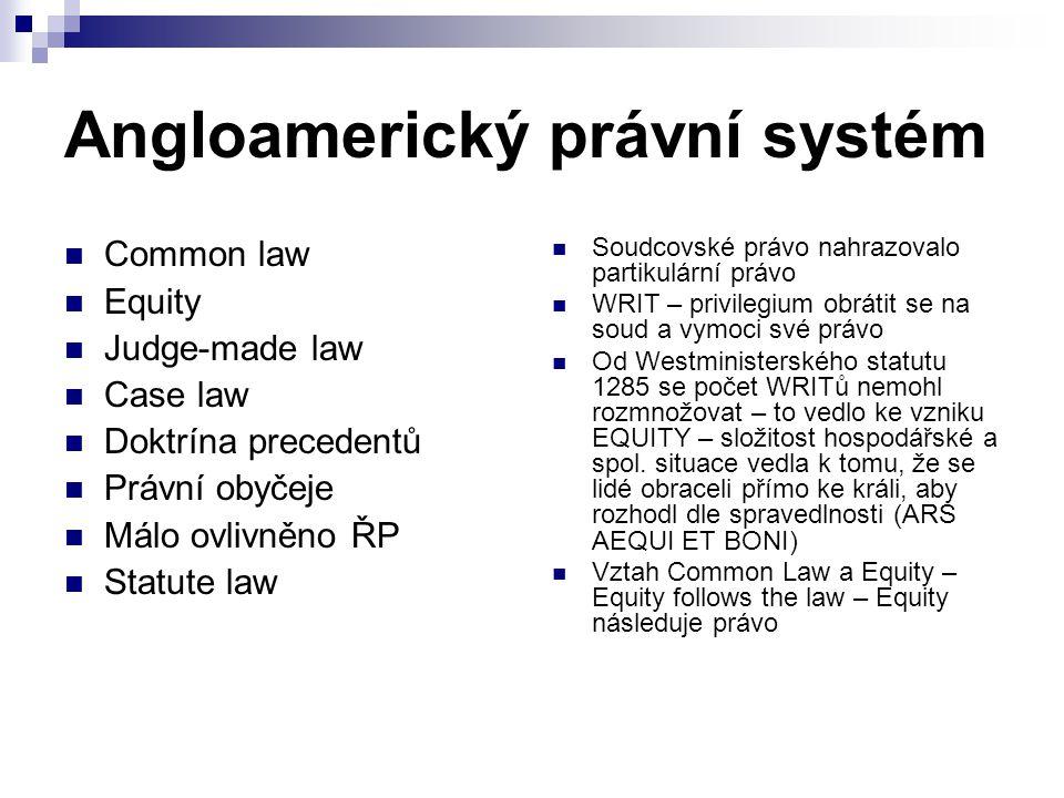 Angloamerický právní systém Common law Equity Judge-made law Case law Doktrína precedentů Právní obyčeje Málo ovlivněno ŘP Statute law Soudcovské práv