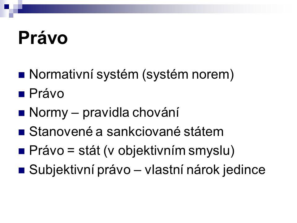 Právo Normativní systém (systém norem) Právo Normy – pravidla chování Stanovené a sankciované státem Právo = stát (v objektivním smyslu) Subjektivní p
