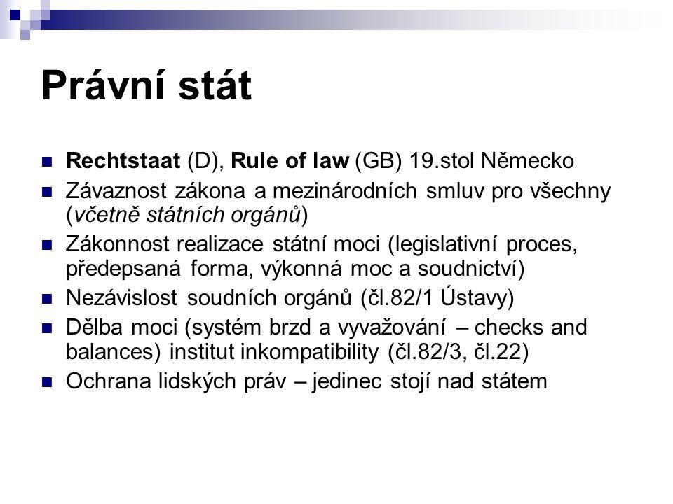 Pozitivní a přirozené právo Pozitivní právo (ius positivum) dané státem právo platné právo objektivní Striktní odlišování práva a morálky Stěžejní role zákona Dominantní role v 19.