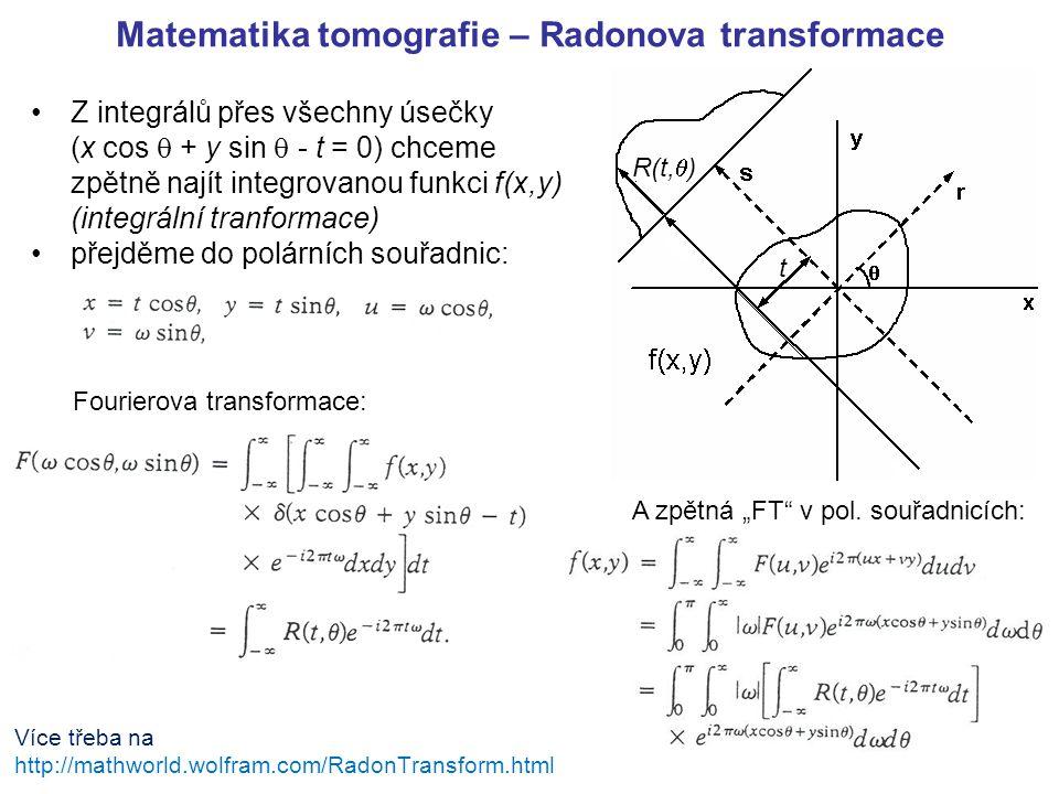 Matematika tomografie – Radonova transformace Z integrálů přes všechny úsečky (x cos  + y sin  - t = 0) chceme zpětně najít integrovanou funkci f(x,