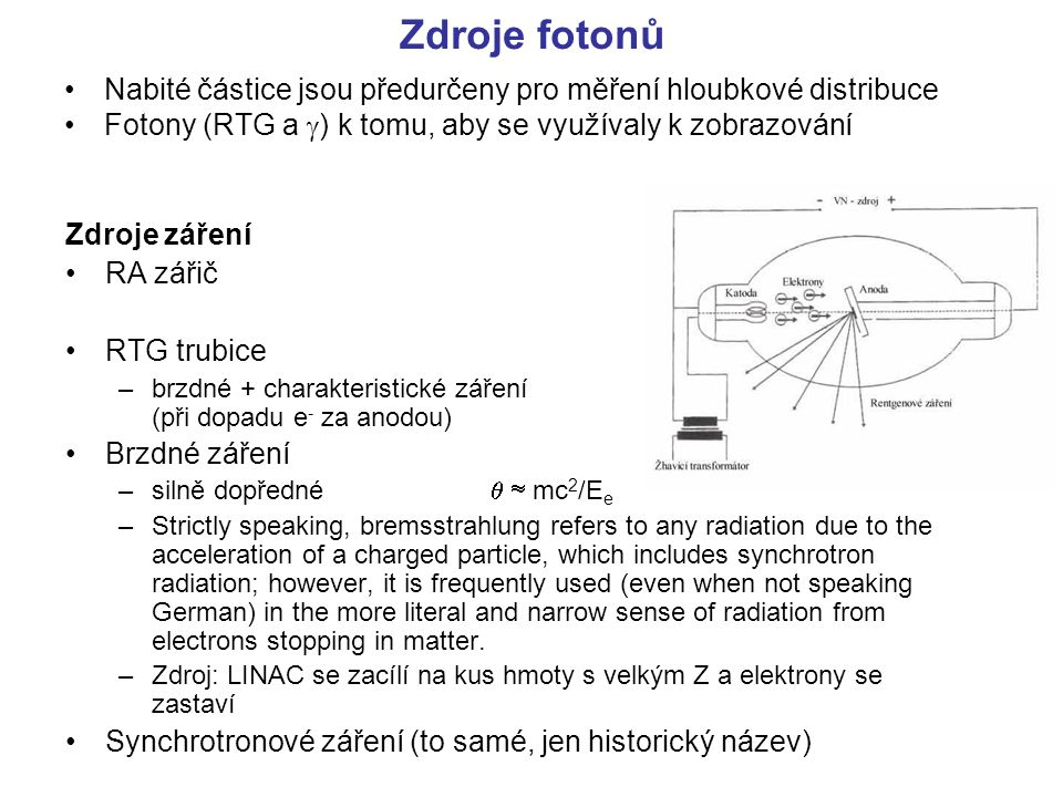 Ionizační a radiační ztráty částic Při nárůstu rychlosti ionizace rychle klesá Minimum je v oblasti γβ ≈ 3-4, tedy β ≈ 0.95c, E e ≈ 10-20m 0 c 2 Nárůst při dalším zvětšování energie je pozvolnější e-e- těžké částice Bethe-Blochova formule brzdné záření